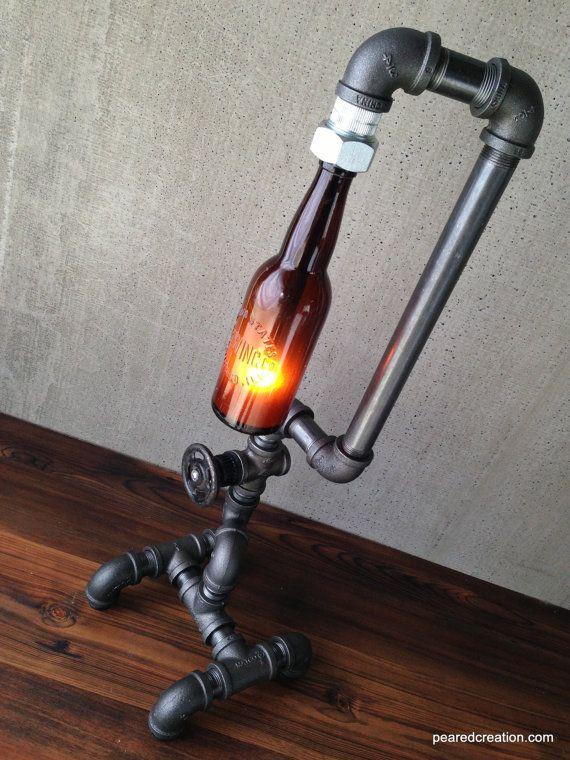 Industrial Lighting  Steampunk Light  Table by newwineoldbottles
