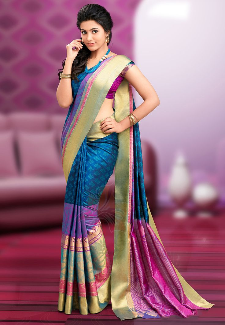 Pure Kanchipuram Handloom Silk Saree in Teal Blue