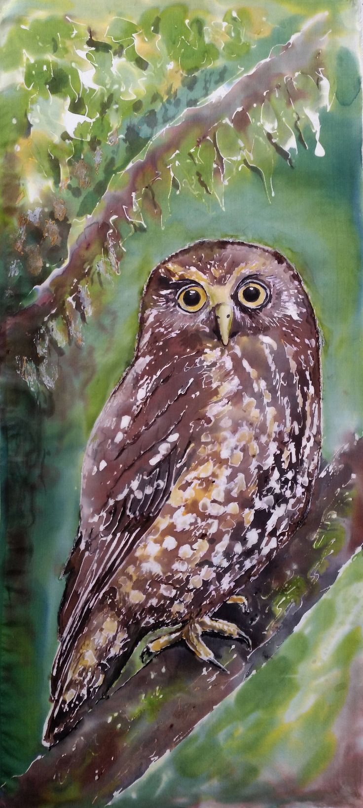 Owl OUTDOOR ART, New Zealand native OWL, Ruru, Morpork, from my original silk painting, Outside Garden Art, New Zealand native Owl bird, by KaySatherleyArt on Etsy