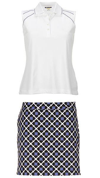 Nantucket Greg Norman Ladies White & Periwinkle/Black Golf Outfit (Shirt & Skort) at #lorisgolfshoppe