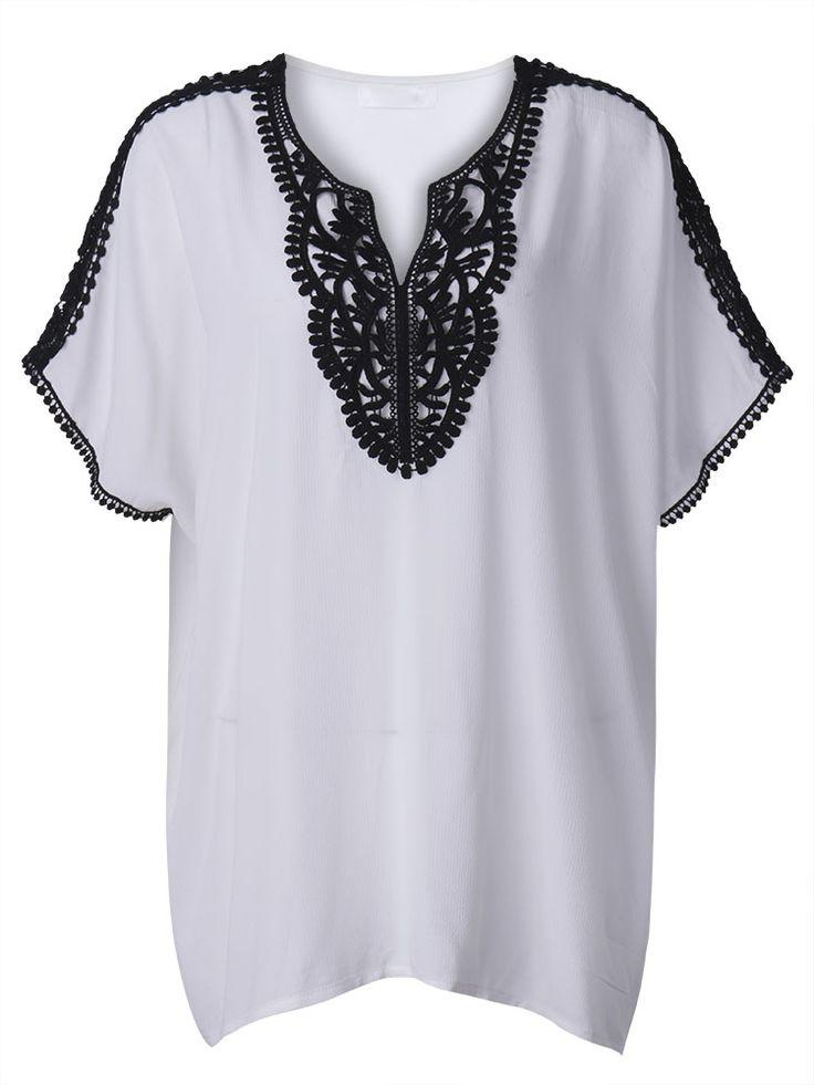 Sale 16% (16.39$) - Casual Women Lace Crochet Patchwork Batwing Sleeve Chiffon T-shirt