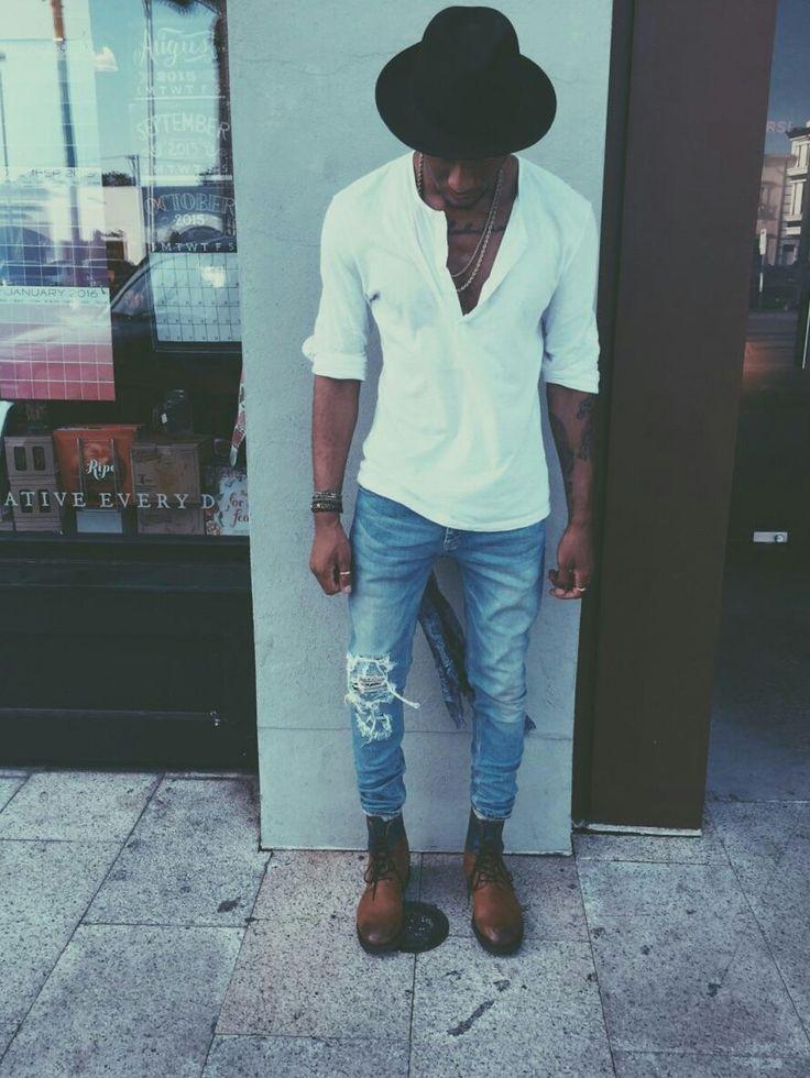 Inspiração: Gola Henley, Chapéu e Botas | Estilo Black - Moda para Homens Negros
