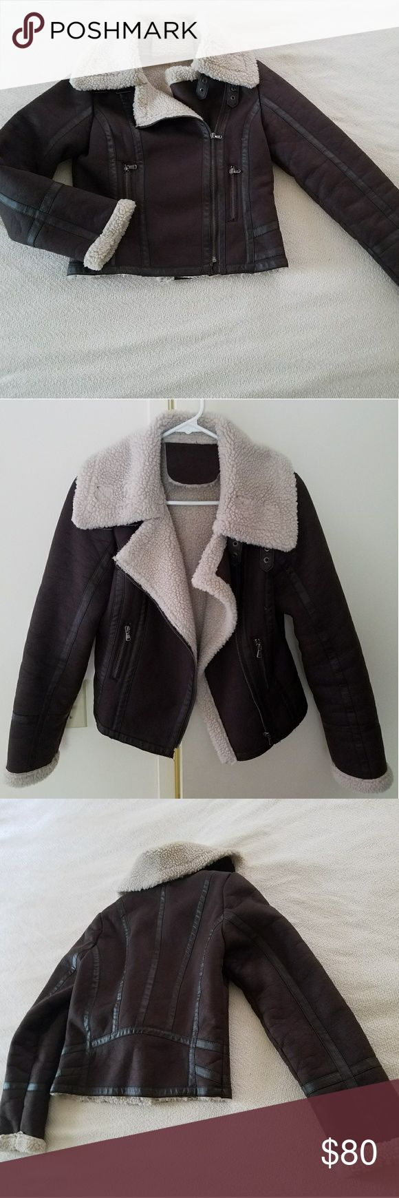 TOPSHOP jacket Faux suede chocolate brown w cream shearling collar and cuffs. Item like new! Size US6. Topshop Jackets & Coats