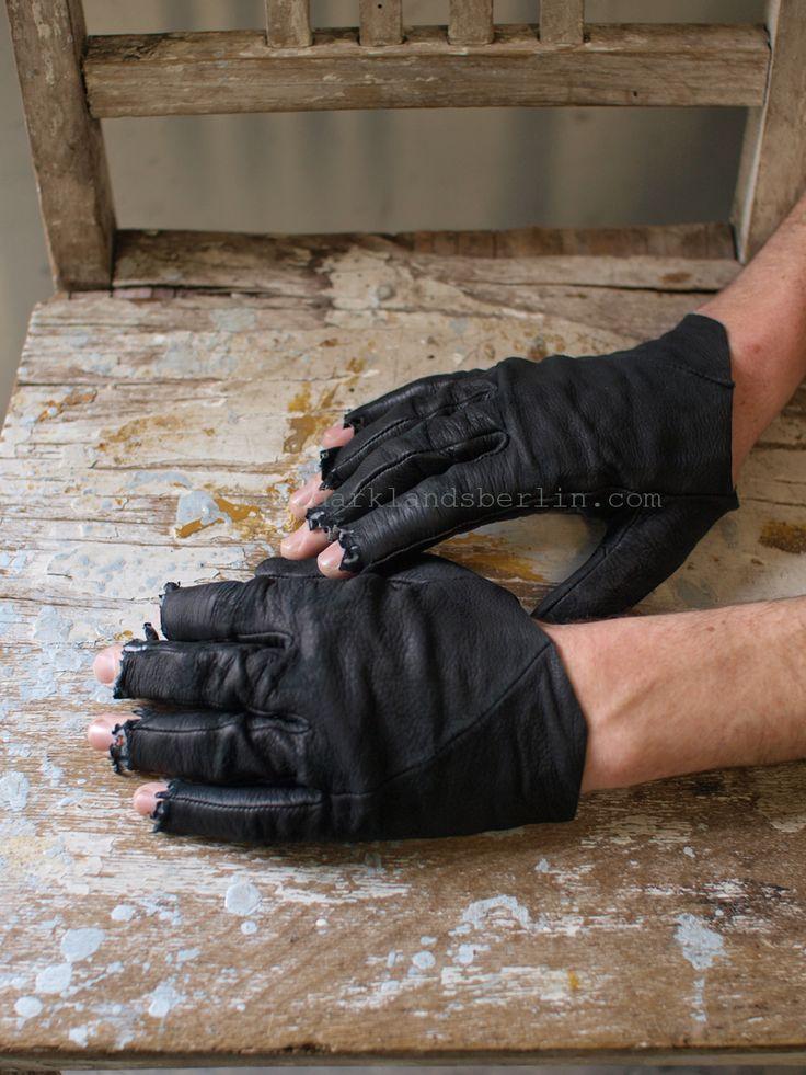 #Sruli Recht   Reindeer skin frayed fingertip glove, �Cast by Shadows� for Darklands.  Gloves #gloves #fashion #nice  www.2dayslook.com