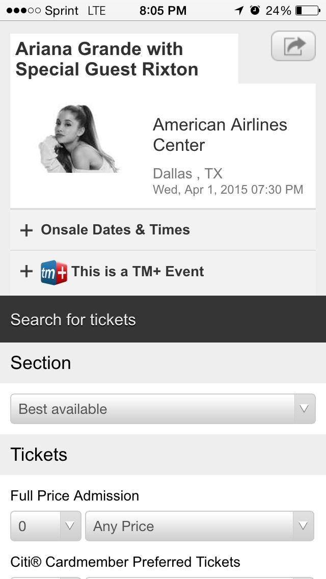 Ariana grande concert tickets.