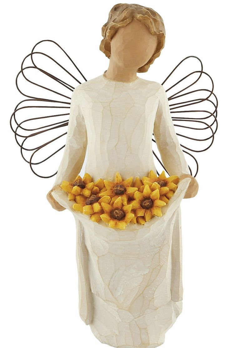 "[""The perfect gift for someone who brightens your outlook every day, the Willow Tree Angel of Sunshine<\/i> was inspired by those friends who light up a room whenever they enter it - and attract others like a sunflower is attracted to the sun. This lovely angel turns her own face toward the sky, as she holds a bright bouquet of sunflowers in her apron.Sentiment on enclosed cards reads: \""Friendship brings the sun... and flowers bloom!\""Figurine is made of resin and stands ..."