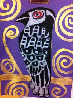 "Hawk in the Klimt ""tree of life"" project. 5th grade"