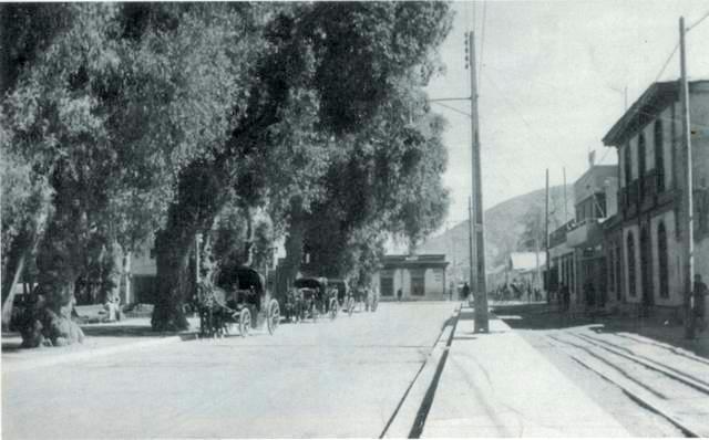 Vista de la calle Los Carrera, a la altura de la actual Intendencia Regional, tomada el año 1930.