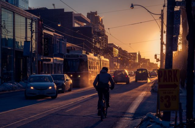 View west on Queen Street from Beverley at sunset