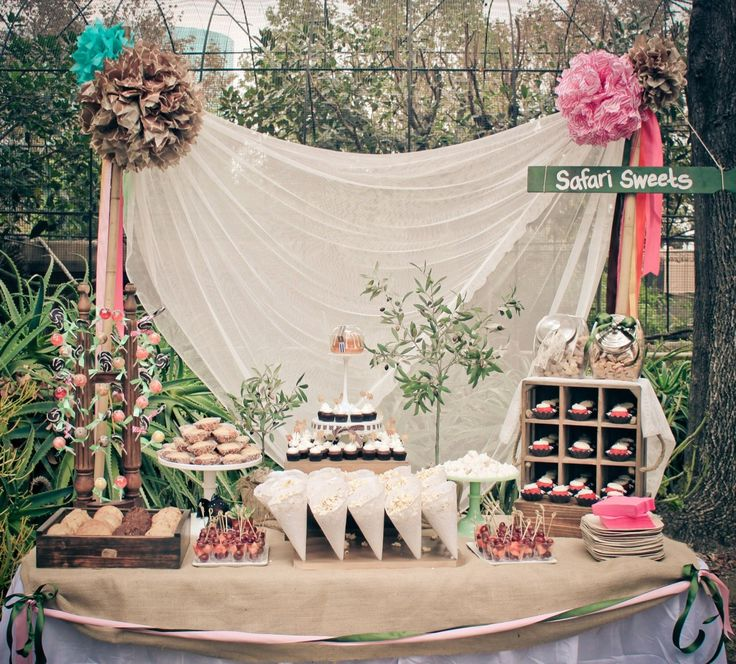 a variety of shabby chic party set ups that are just wonderful