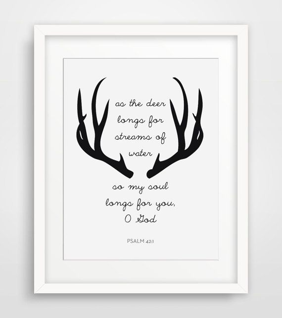 Deer Bible Verses, Psalm 42, Antler Print, Scripture Print, Christian Wall Art, Scripture Wall Art, Bible Quote Home Decor, Psalm 42:1 on Etsy, $5.00