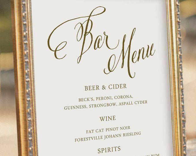 8 best pri wedding images on pinterest wedding ideas wedding custom printable bar menu wedding reception sign digital pdf file dezdemon home decor ideas junglespirit Gallery