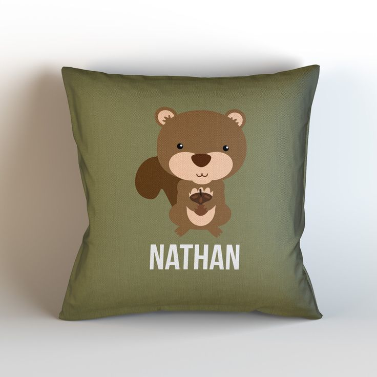 Personalized Nursery Throw Pillow Cover, SQUIRREL, Choose Your Color!
