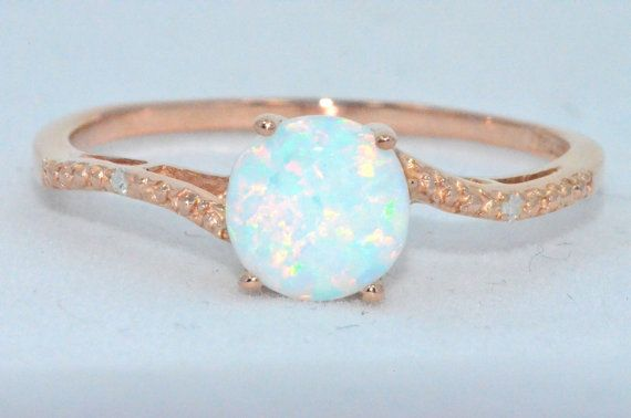 14Kt Yellow Gold Opal Diamond Ring Dainty Gift For Her Jewelry Fashion Trend