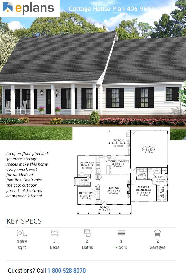 Cottage Style House Plan 3 Beds 2 Baths 1599 Sq Ft Plan 406 9662 Ranch Style House Plans House Plans Farmhouse Country Style House Plans