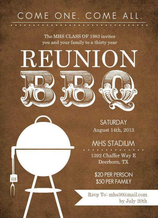 103 best 70th birthday party card images on pinterest 70th unique class reunion invitations rustic brown bbq class reunion invitation stopboris Images