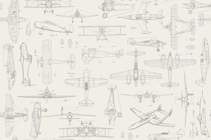 Airplane Fabric QT Aviator Vintage Plane Sketches 7192