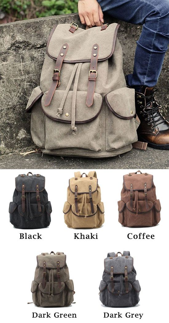 Retro Leather Strap Rucksack Thick Canvas Large Travel College Backpack  only  46.99   Pinterest   Backpacking backpacks, Backpack bags and Backpacks ce0089542c