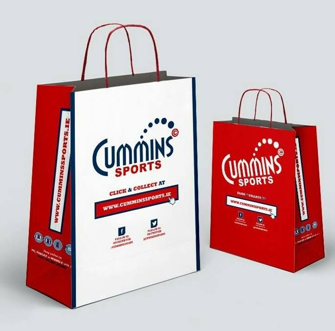 Loving these new rebranded carrier bags that we're supplying Cummins Sports.  #packaging to promote your business!! www.alliancepackaging.ie