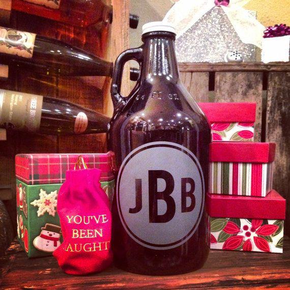 Personalized growler, Monogram, Custom Growler, Growlers, Beer, Craft beer, Beer stein, Beer mug, Pounder glass, Hop, by VitalSignandApparel