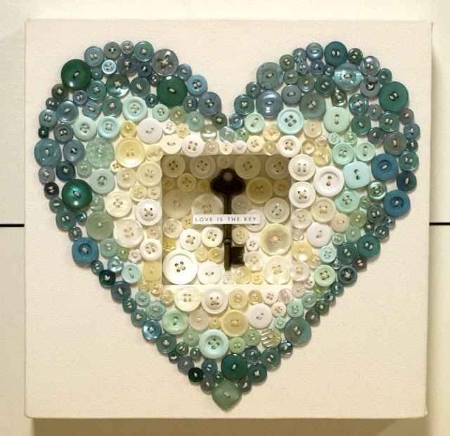 Lovely Heart Button frame