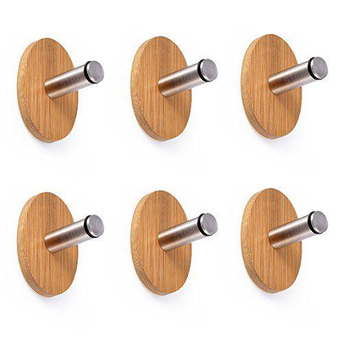 Adhesive Hooks, Oak Leaf 6 PCS Heavy Duty Wood &Stainless Steel Decorative Stick Wall Hooks Clothes Hangers for Home Kitchen Coats Hats Keys Bags Oak Leaf