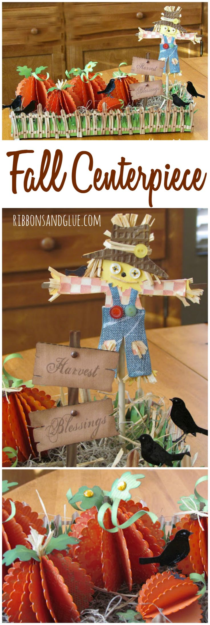 Fall Scarecrow and Pumpkin Centerpiece made with die cut and 3D Paper pumpkins…