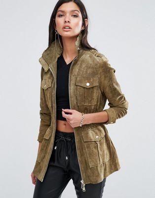 Замшевая куртка цвета хаки в стиле милитари River Island Studio