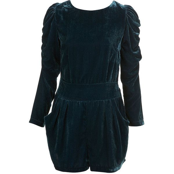 Premium Velvet Playsuit ($84) ❤ liked on Polyvore featuring jumpsuits, rompers, dresses, playsuits, bodysuits, collections, jubilee, view all, long-sleeve rompers and blue romper