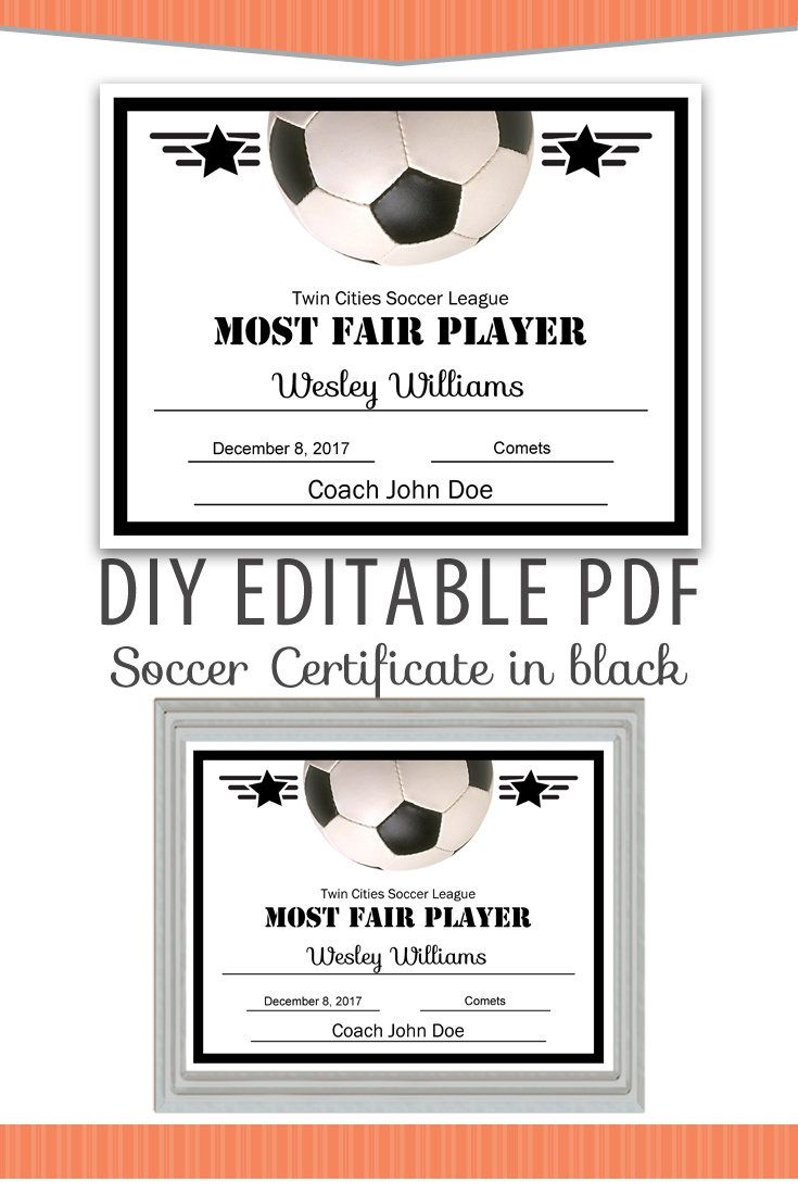 editable pdf sports team soccer certificate diy award template in