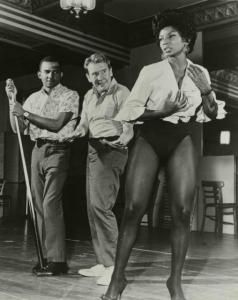 Burgess Meredith( Penquin-Batman) and Nichelle Nichols(Uhura-StarTrek) rehearsing the musical Kicks and Co., 1961.