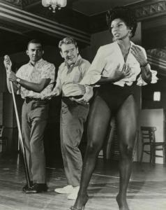 Burgess Meredith( Penquin-Batman) and Nichelle Nichols(Uhura-StarTrek) rehearsing the musical Kicks and Co., 1961.