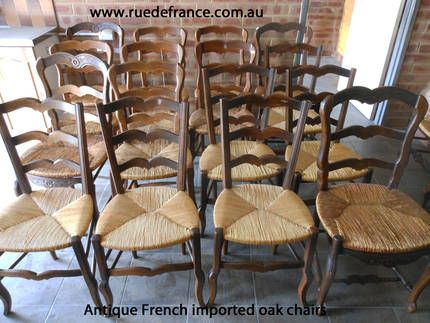 ANTIQUE FRENCH PROVINCIAL STYLE -- CARVED OAK DINING CHAIRS