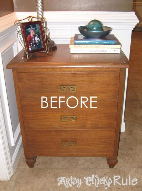 Super Easy Way to Update Wood Stained Furniture BEFORE artsychicksrule.com