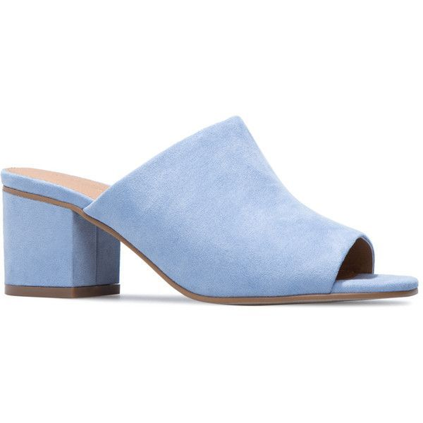 ShoeDazzle Sandals-Dressy - Single Sole Vero Womens Blue ❤ liked on Polyvore featuring shoes, sandals, blue, sandals-dressy - single sole, blue mule, dressy sandals, blue shoes, slip on sandals and low chunky heel sandals