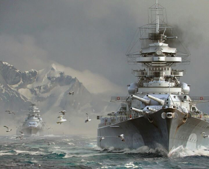 Battleship Bismarck and the Prinz Eugen in the background of 1941