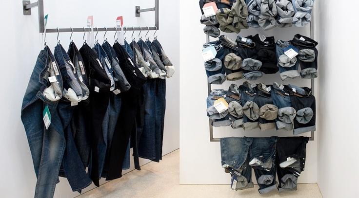Denim display | Merchandising | Pinterest | Visual merchandising Store design and Denim display