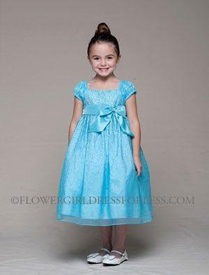 Girls Dress Style 951- Cap Sleeve Organza Sparkle Dress