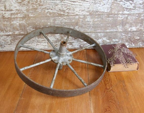Vintage Iron Wagon Wheel primitive rusty rustic farmhouse wheelbarrow country home decor garden by VintageandMain