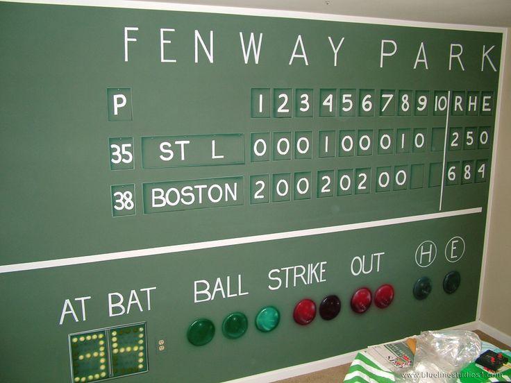 Fenway scoreboard mural baseball bedroom ideas pinterest for Baseball scoreboard wall mural
