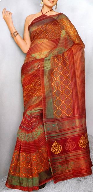 Orange and Red Super Net Printed Saree