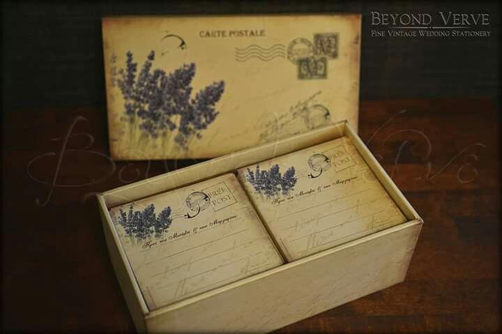 Vintage lavender card box wish cards - Wedding stationery