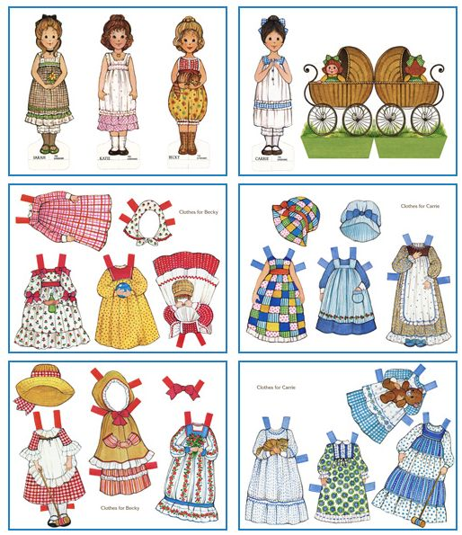 My best friend and I had every paper doll set and coloring book of the Ginghams.  They came on the heels of the Holly Hobbie craze.