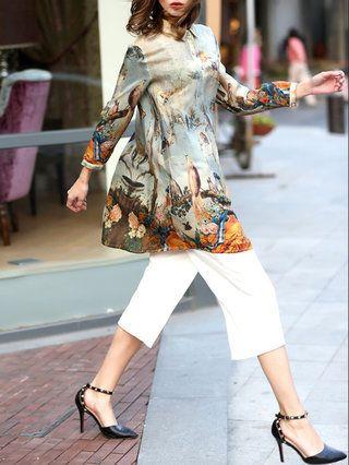 Brown Shift 3/4 Sleeve Silk Animal Print Mini Dress
