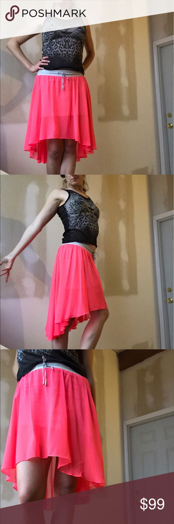Armani Exchange 🌺hot pink🌹 high low skirt size12 Sheer hot pink and athletic high low rayon skirt with light grey elastic waistband. Trending this season, rare find for this price! 🌈open to offers.... flexible with pricing 💥 ARMANI EXCHANGE 🥊🍎 Armani Exchange Skirts High Low