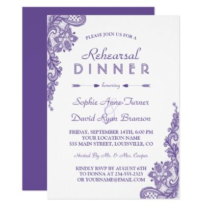 Modern Ultra Violet Lace Rehearsal Dinner Invite - invitations custom unique diy personalize occasions