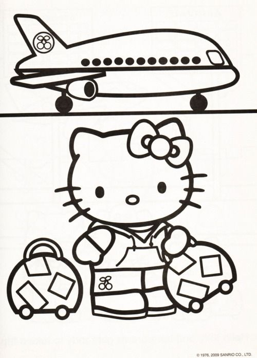 Kleurplaat Hello Kitty vliegtuig