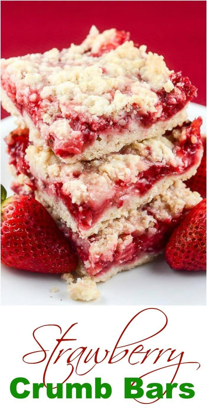 These easy Strawberry Crumb Bars, with a buttery c…