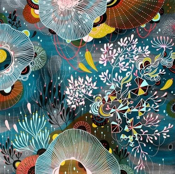 Beautiful deep sea illustration by Yellena James.