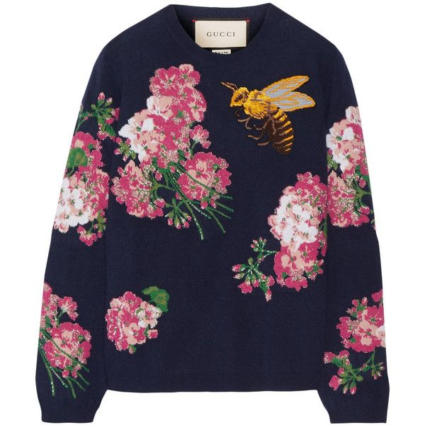 Gucci Embroidered intarsia wool sweater (€895) ❤ liked on Polyvore featuring tops, sweaters, blue, intarsia sweater, embroidery top, gucci tops, wool sweaters and multi colored sweater